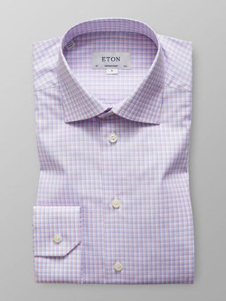 Eton Pink & Blue Check Poplin