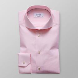 Eton Pink Fine Striped Poplin