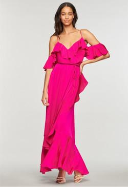 Milly Fuchsia Wrap Gown