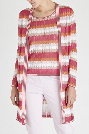 Laurél Zigzag Stripe Cardigan & Top