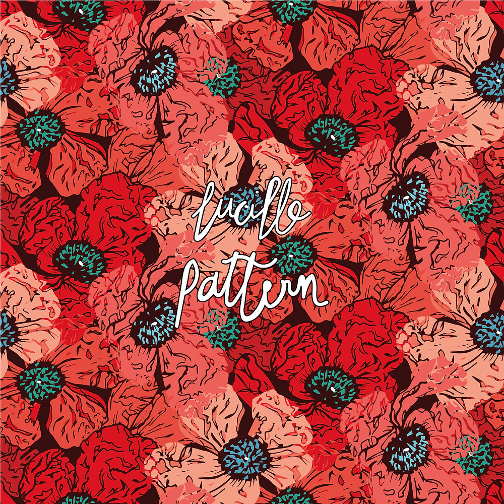 surface pattern designer | créatrice de motifs | lucillepattern | illustratrice | veilhan | design textile | mode | fashion | patterns | papeterie | stationery | déco | carterie | patternbank | graphiste | textile | textile addict | all over | illustrations | designer | cymé | tissu | poppies | coquelicot | poppy | coquelicot motif