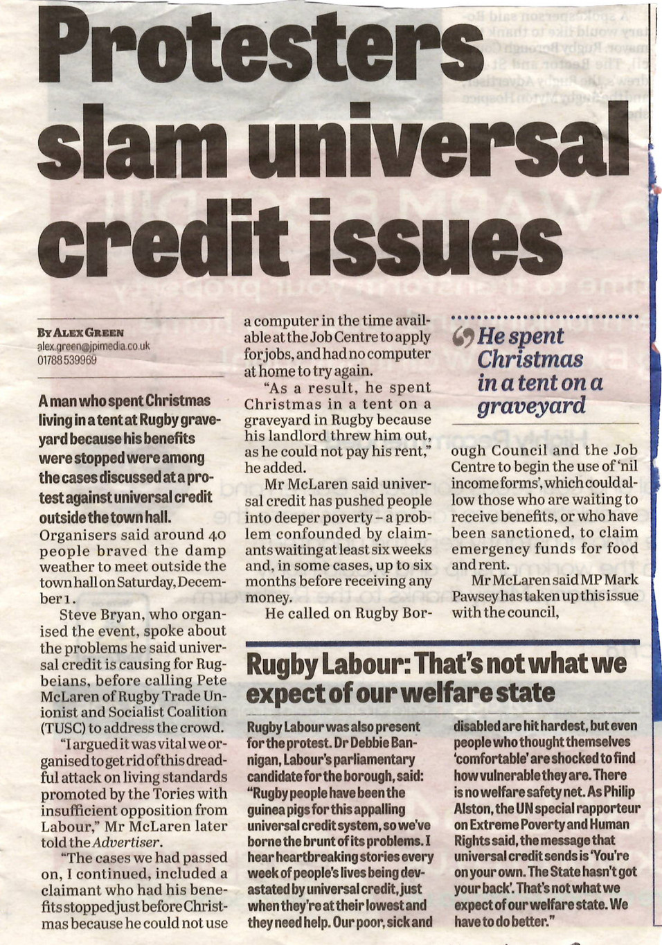 Rugby TUSC supports protest against Universal Credit