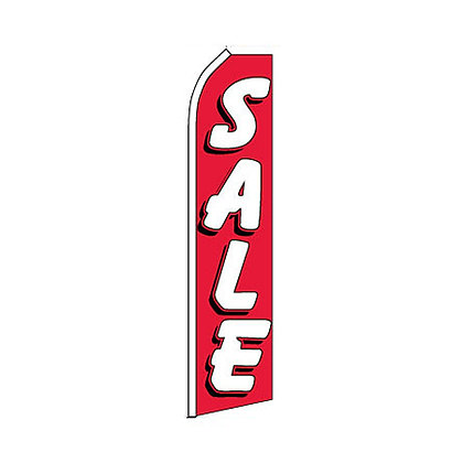 Sale Red & White Swooper Flag w/ Pole