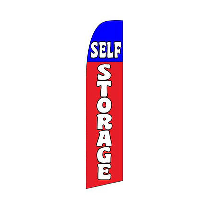 Red And Blue Self Storage Swooper Flag w/ Pole