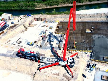 580 m3 beton, den store støbning.