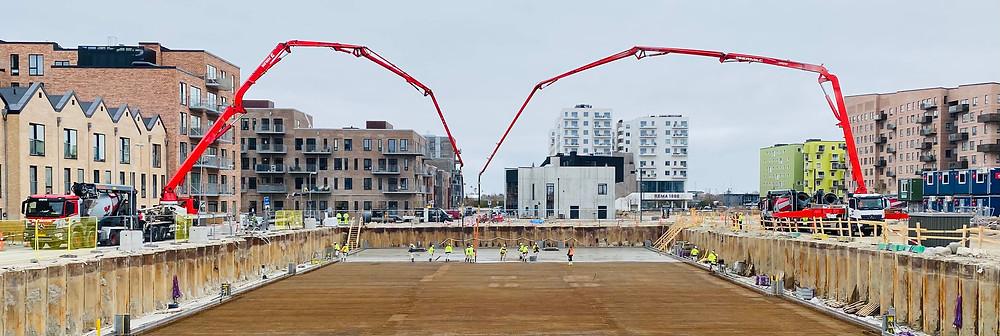 nor|DC, nor|byg, nordc, betonstøbning, betonspecialist, bundplad, IBF, v8, v8 construction, armering, entreprenør, jordkørsel, betonpumpe, Ørestaden, byggeri, anlægsvirksomhed, spuns, forurenet jord