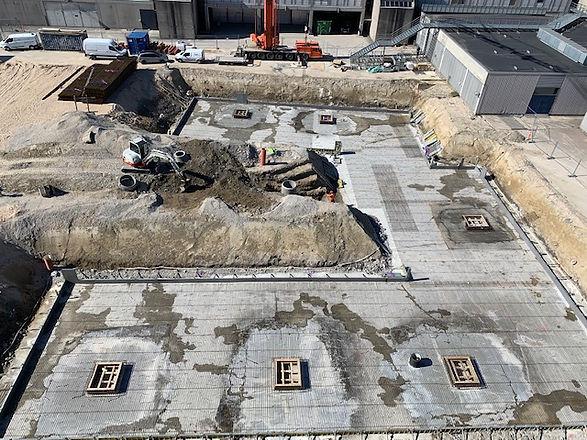 Bellakvarteret, V8, v8 Construction, entreprenør, MOE, nor|byg, norDC, nor-byg, norbyg, bundplade, armering, IBF, armeringsnet, betonpumpe, konstruktioner, Lyngby Blodklub, in situ beton