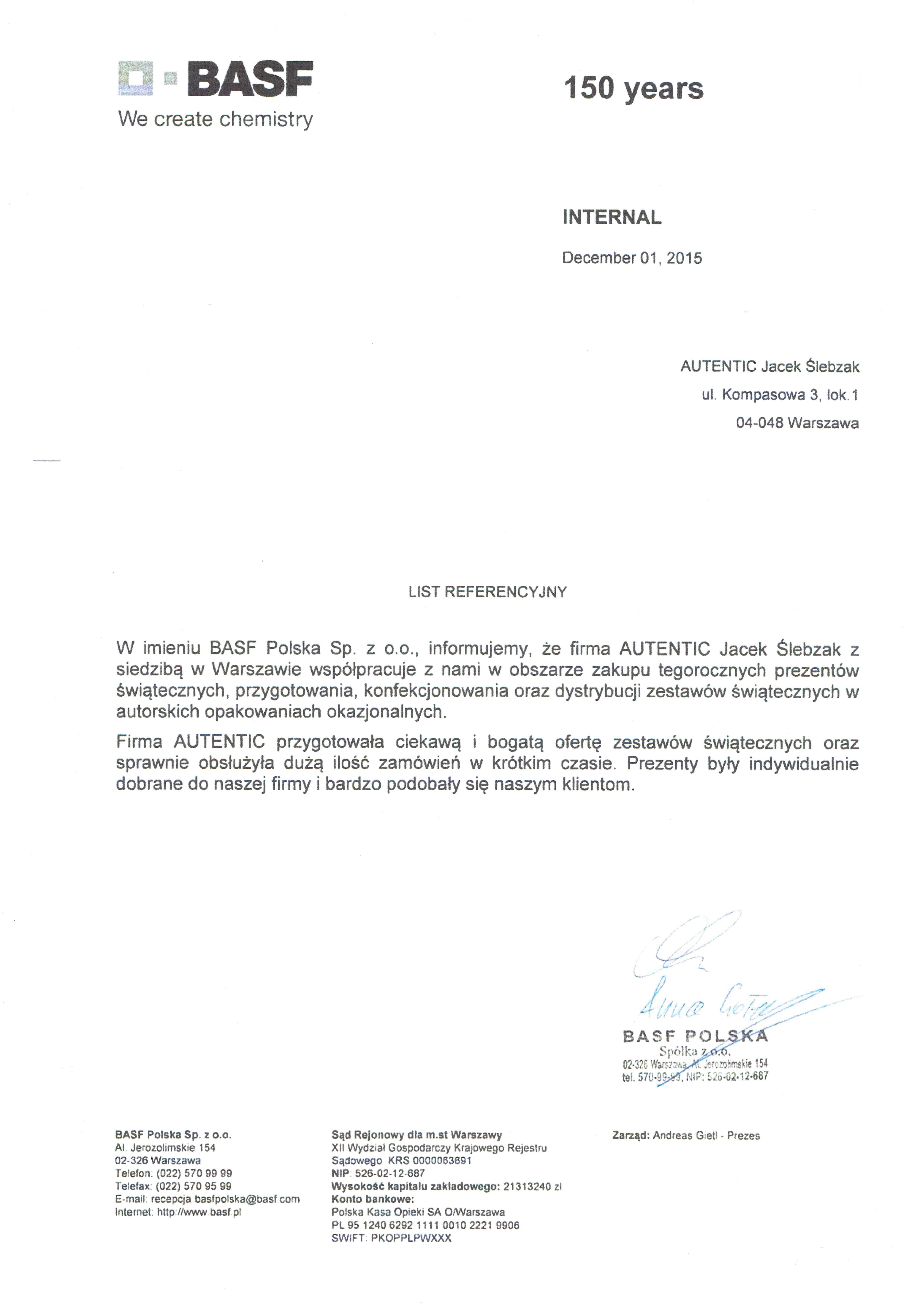 List referencyjny BASF