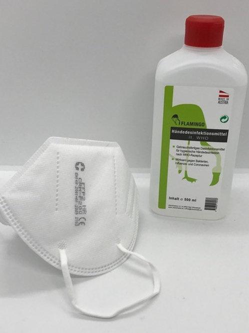 FFP2 Masken Set klein inkl. 500 ml Händedesinfektion