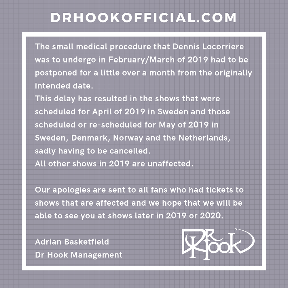 Dr Hook 50th Anniversary Tour April May 2019 Notification 04.04.19