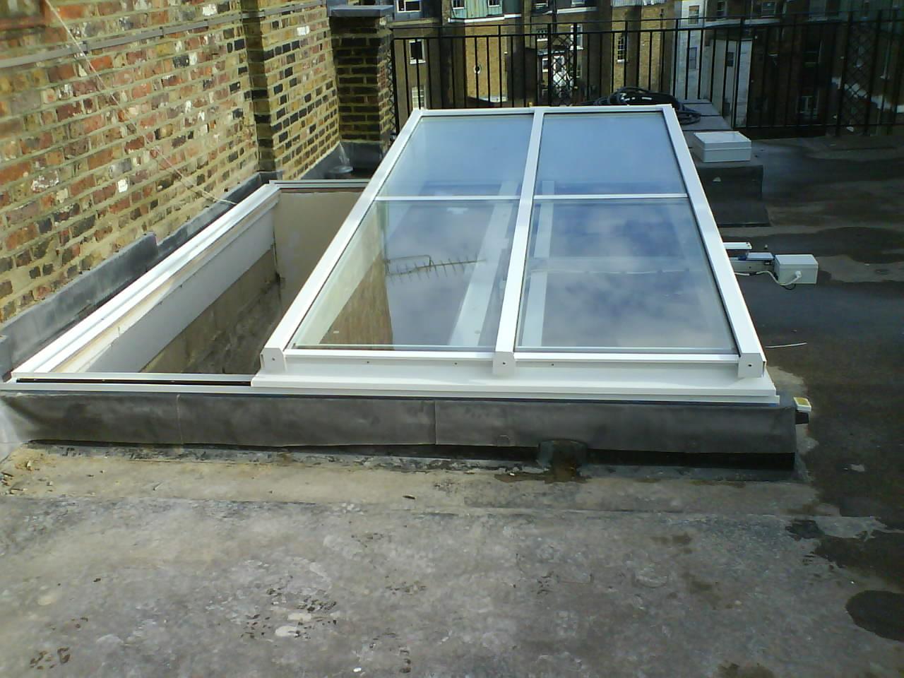DOK Single Pitch Semi Retracting, Slide Open Roof Lantern, Rooflight, Skylight, Glazed Roof
