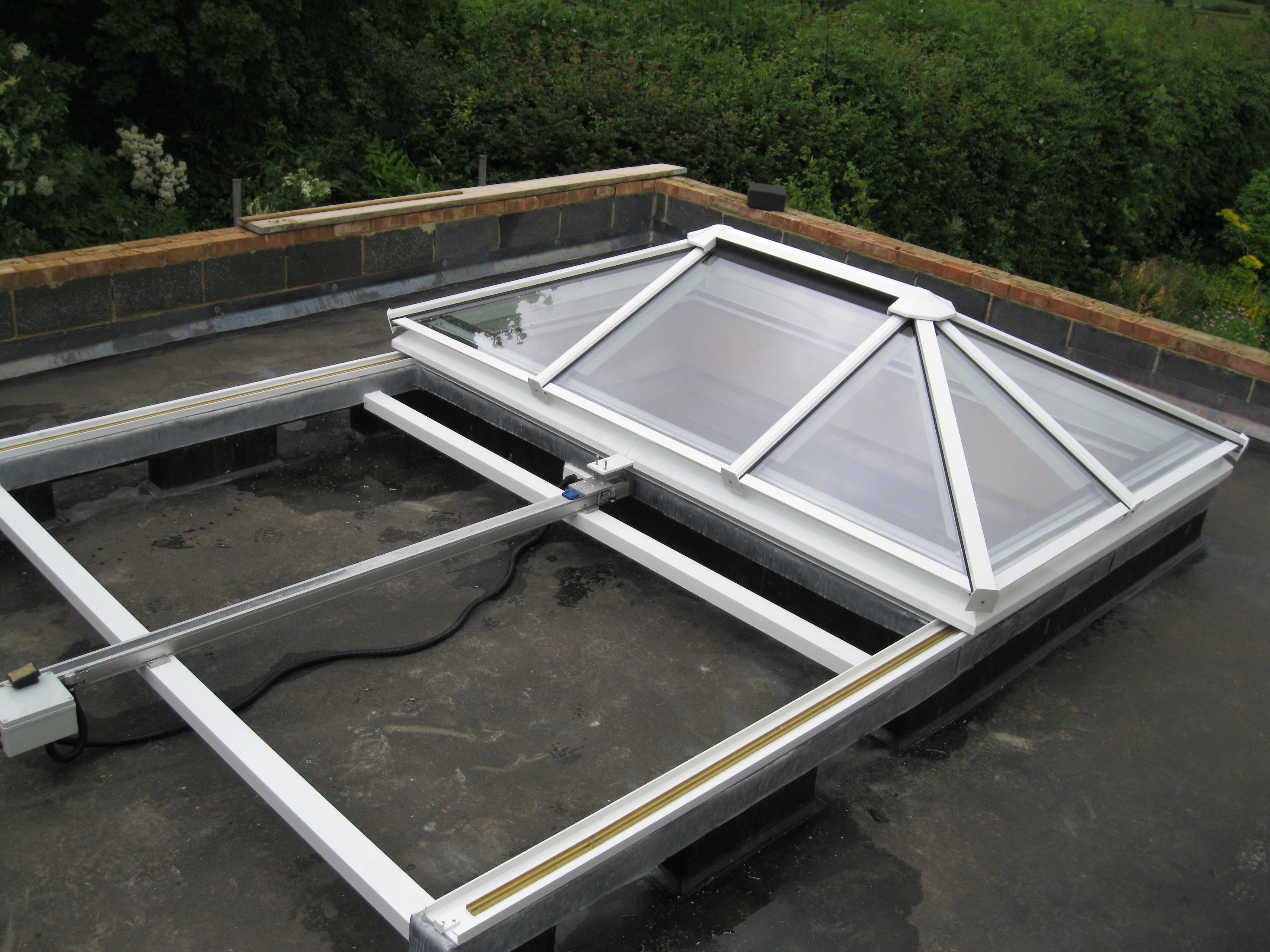 TRNR Fully Retracting, Slide Open, Hip Ended Glazed Roof, Rooflight, Skylight, Roof Lantern