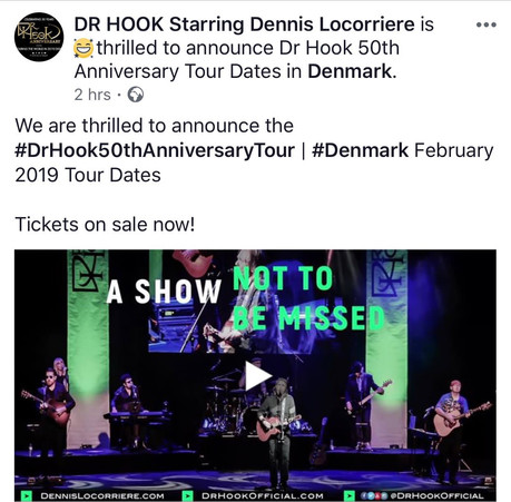 Dr Hook 50th Anniversary World Tour | Denmark February 2018