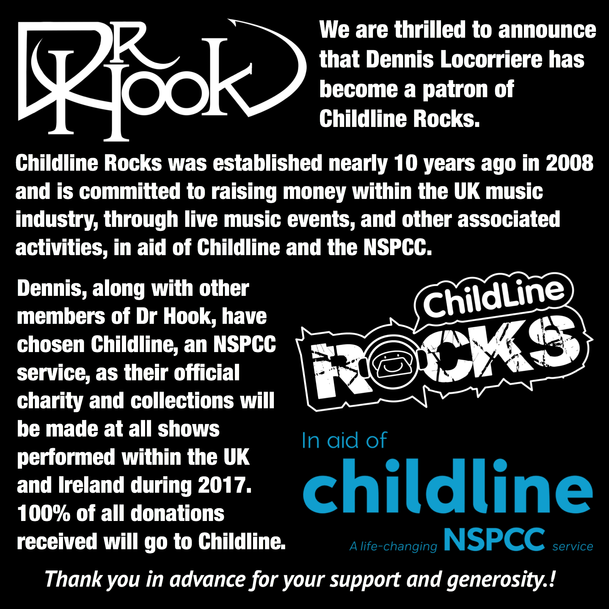 Dr Hook | Fundraising | Childline