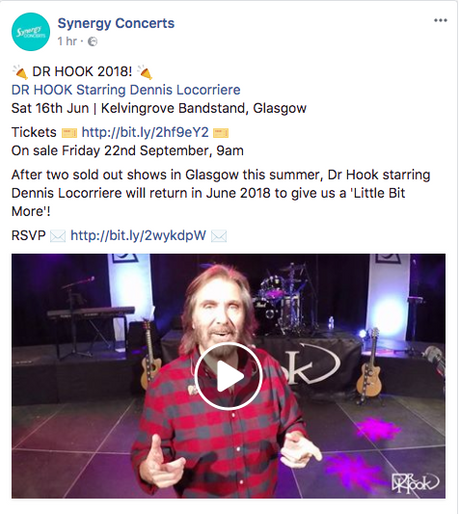 Synergy Concerts Announce: Dr Hook | Glasgow, Scotland | 2018