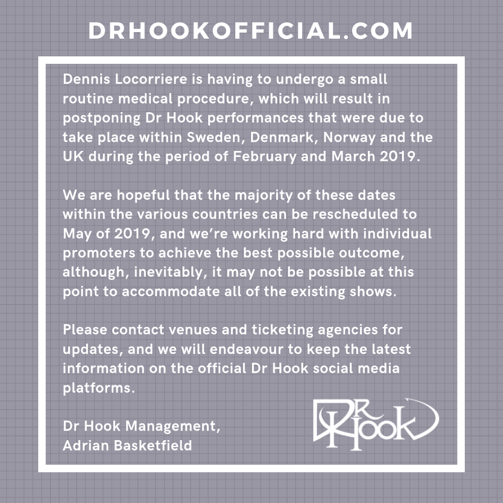 Dr Hook 50th Anniversary Tour | February & March 2019