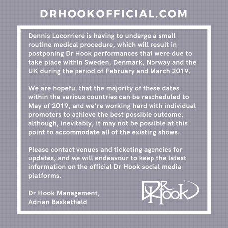 Dr Hook | February & March 2019