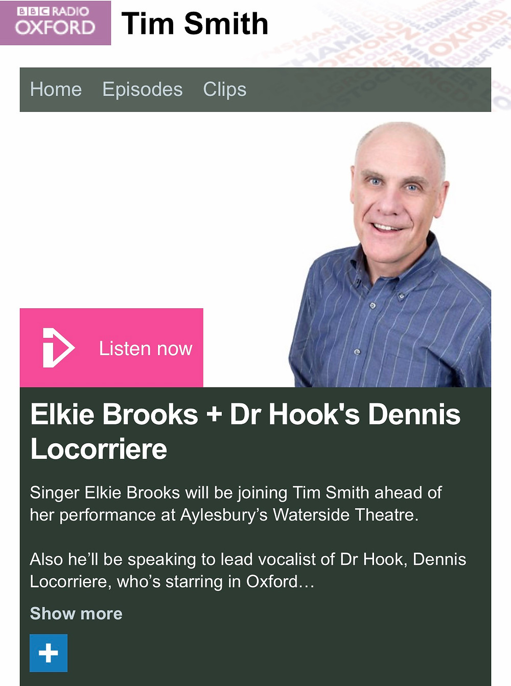 Dennis Locorriere Dr Hook | Live On BBC Radio Oxford | 28.10.17