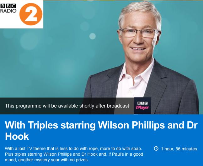 Paul O'Grady 'Triples' featuring Dr Hook | BBC Radio 2 | 05-11-17