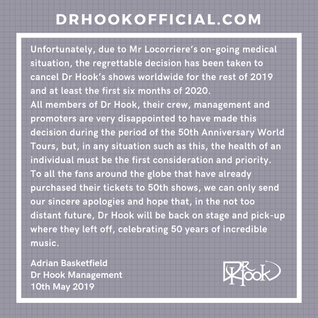 Dr Hook 50th Anniversary Tour 2019-2020