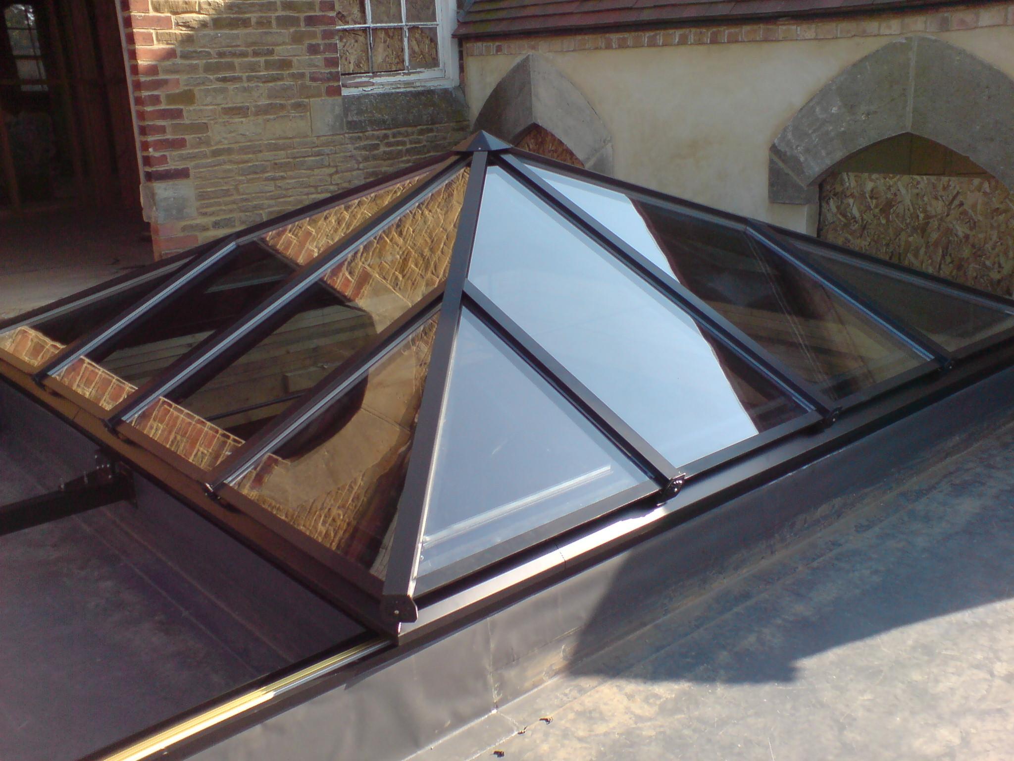 IH Slide Open Fully Retracting Pyramid Roof Lantern, Rooflight, Skylight, Glazed Roof