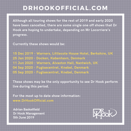 Dr Hook One off shows 2019-2020 🙌🏼