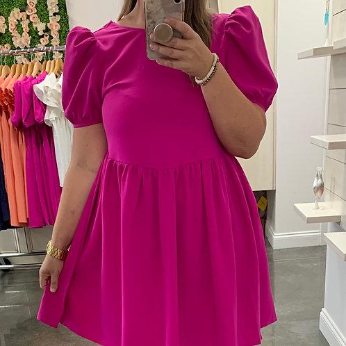 Magenta Puff Sleeve Dress
