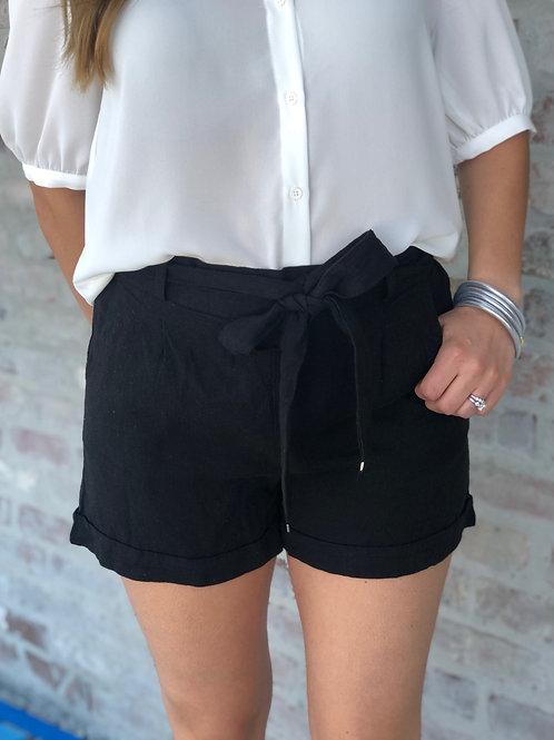 Tie Front Shorts Black