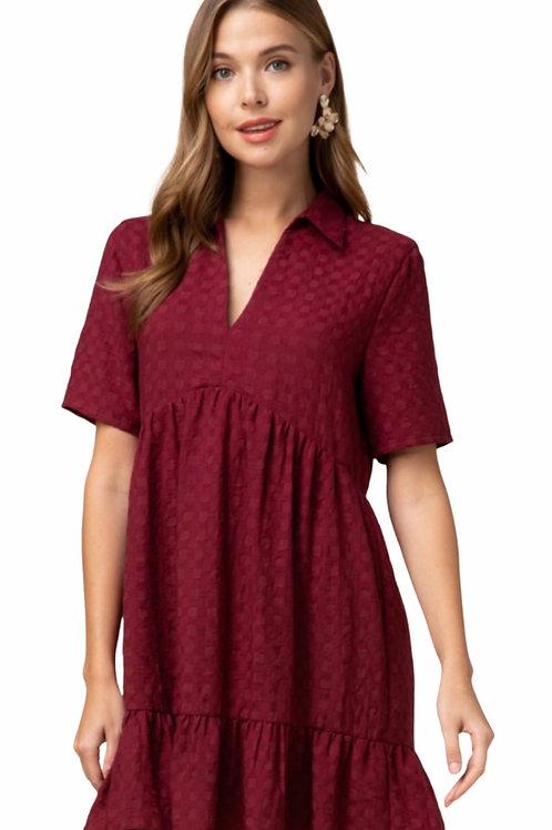 Burgundy Textured V Neck Dress
