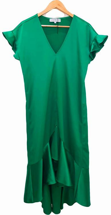 שמלת סאטן ירוק דשא S I LAILAMIST