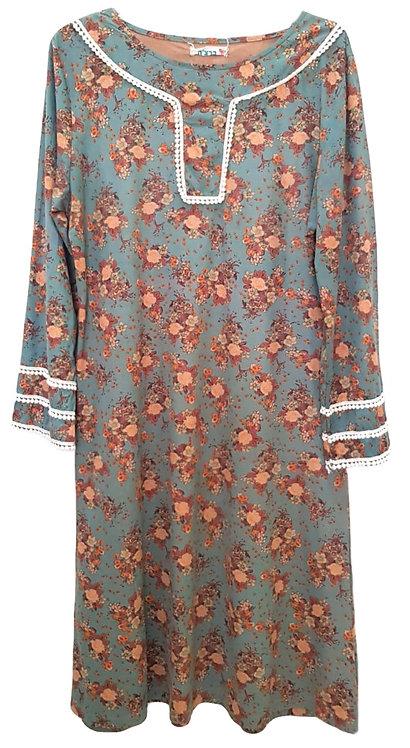 שמלת פרחים דמוי עור הפוך M I ברצ'ה