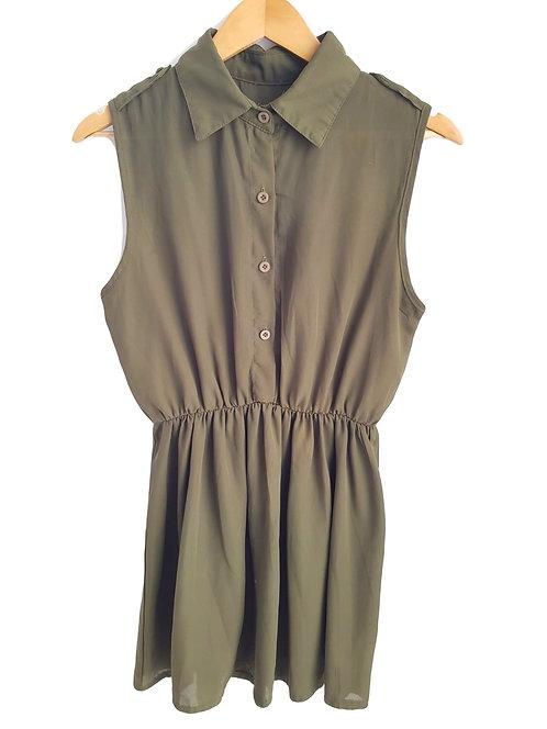 שמלה בצבע ירוק זית I S