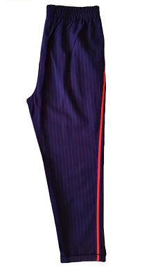מכנסי צ'ינו כחולים עם פסים אדומים M I  Stradivarius