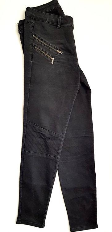 ג'ינס שחור רוכסנים M I ZARA BASIC