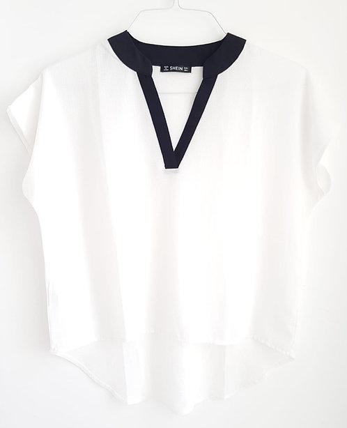 חולצת שיפון אסימטרית L I SHEIN