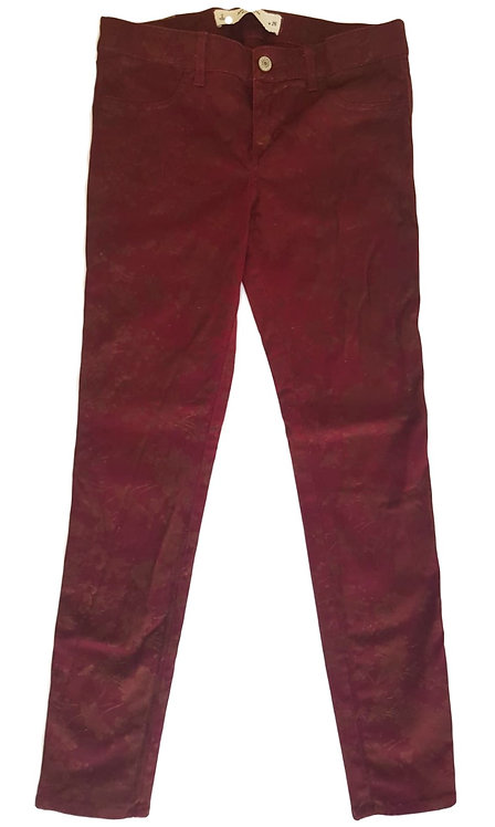 ג'ינס בורדו עם הדפס פרחים S | Abercrombie & Fitch