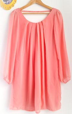 שמלת מיני- שיפון בצבע אפרסק S I