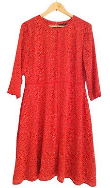שמלה אדומה עם טקסטורה L I ZIP