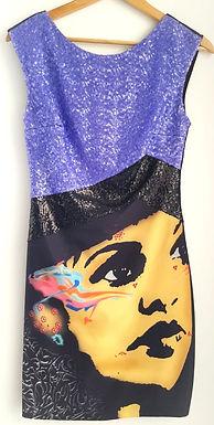 שמלת מיני פייטים והדפס M I ICE CUBE