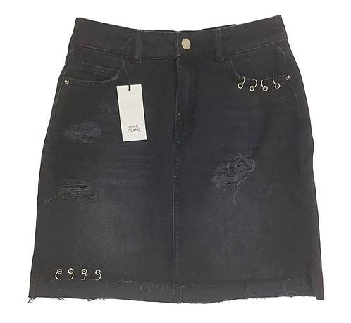 חצאית ג'ינס מיני אסימטרית S I RIVER ISLAND