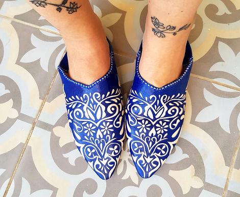 39 נעליים עור מרוקאיות כחולות Morocco I