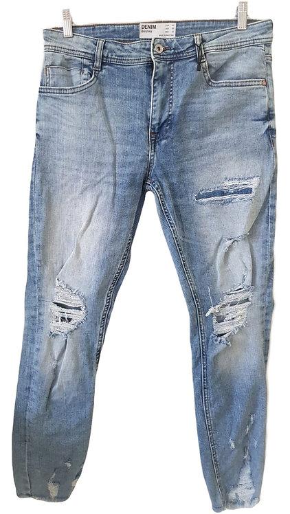 ג'ינס קרעים גזרה גבוהה L I BERSHKA