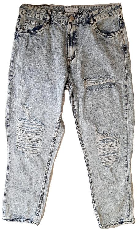 ג'ינס קרעים בגזרה גבוהה 42 | Bershka man