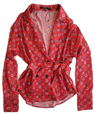 חולצת סאטן פרחונית M | AMARO