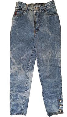 ג'ינס כתמים בגזרת MOM גבוהה מאוד XS\S   BONGO