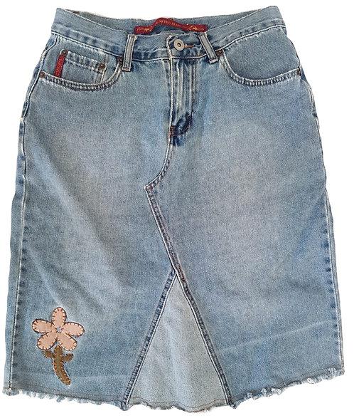 חצאית ג'ינס עם עיטורי רקמה M I CASTRO