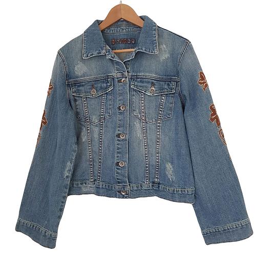 ג'קט ג'ינס עם רקמת פייזלי L\XL I BIANCO