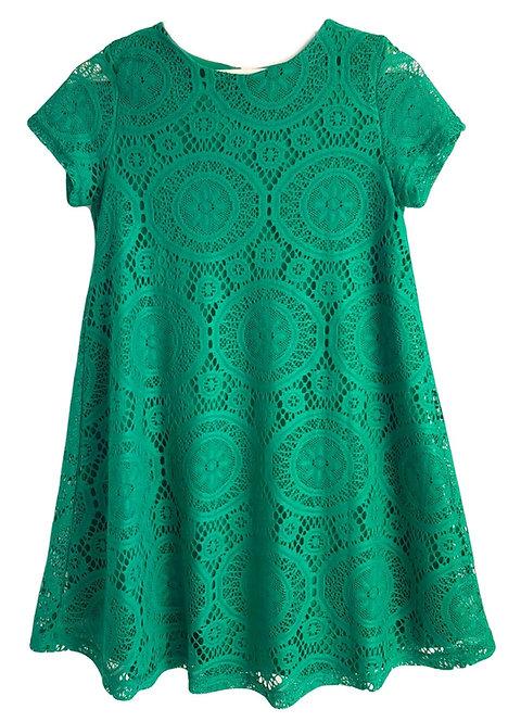 שמלת תחרה ירוק דשא S I