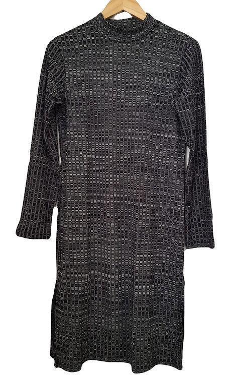 שמלת ריף מונוכרום באורך הברך M\L I ALMHA