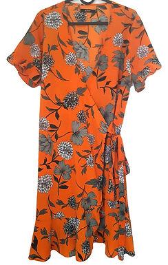 שמלת מעטפה תפוזית עם פרחים L I GOLF